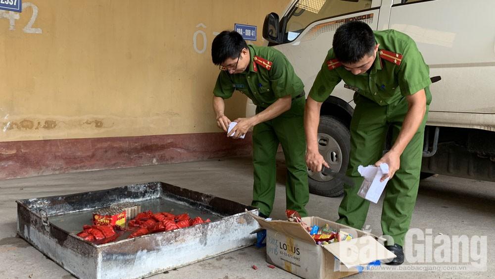 vũ khí, vật liệu nổ, tiêu hủy pháo nổ, Công an Lạng Giang, Bắc Giang