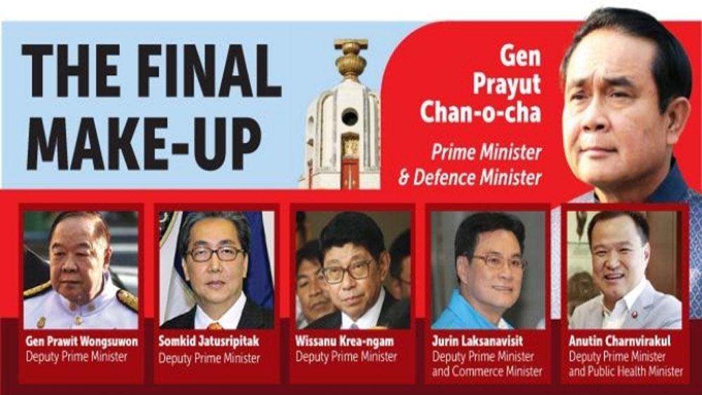 Nhà vua Thái-lan, phê chuẩn, danh sách, thành viên chính phủ mới