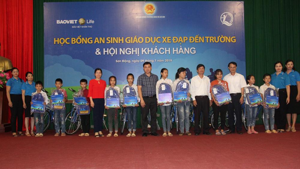 Công ty Bảo Việt nhân thọ, Bắc Giang,  An phát cát tường, học bổng An sinh giáo dục, xe đạp đến trường, sản phẩm bảo hiểm nhân thọ