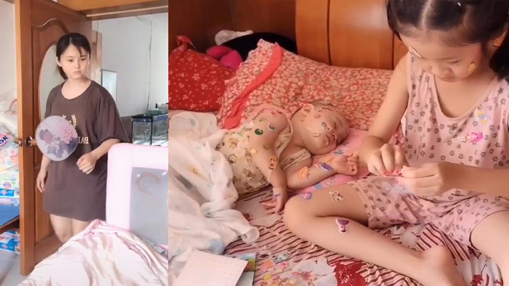 Mẹ trẻ 'ngã ngửa' khi nhờ con gái trông em ngủ