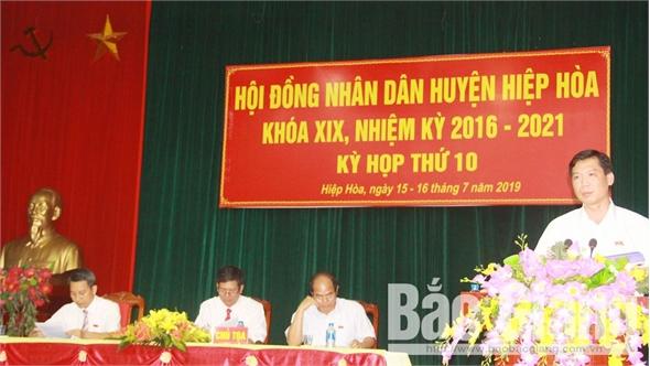 HĐND huyện Hiệp Hòa khóa XIX, nhiệm kỳ 2016-2021 tổ chức kỳ họp thứ 10