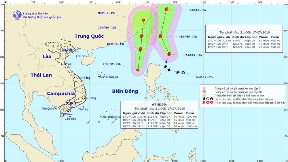 bão Danas, Biển Đông, xuất hiện, áp thấp nhiệt đới