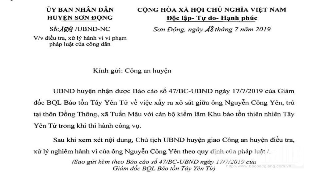 Chủ tịch, UBND, huyện Sơn Động, giao công an, xử lý, vụ khai thác, gỗ trái phép, hành hung, cán bộ, kiểm lâm
