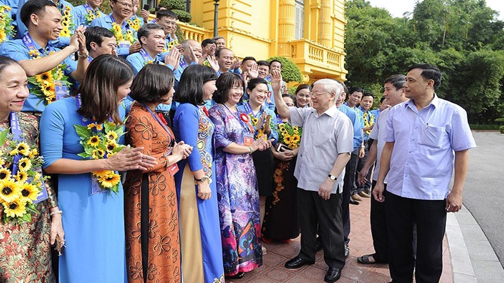Tổng Bí thư, Chủ tịch nước Nguyễn Phú Trọng, gặp mặt, cán bộ công đoàn tiêu biểu, xuất sắc