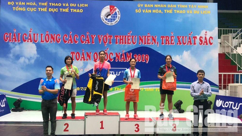 Bắc Giang, nhất toàn đoàn, giải cầu lông, trẻ xuất sắc toàn quốc