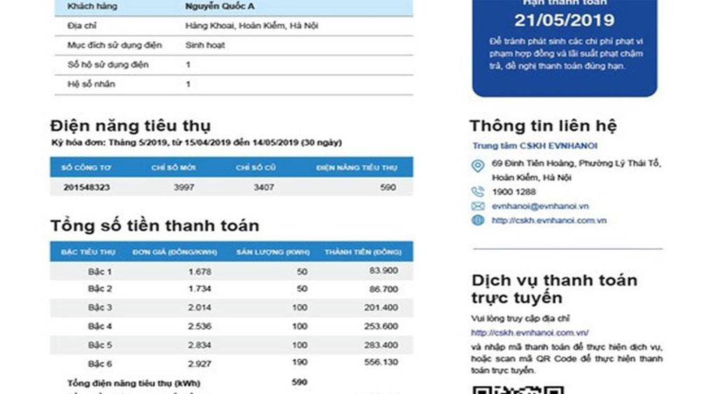EVN, công bố, kết quả bình chọn, mẫu hóa đơn tiền điện mới