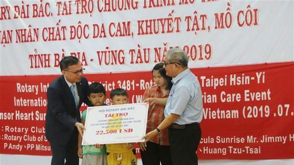 Foreign aid, heart surgeries, AO/dioxin victims, Taipei's Rotary Club, congenital heart surgeries, vocational skills training, humanitarian activities