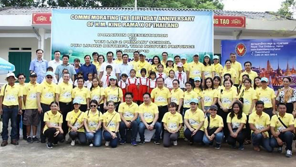 Thai embassy, Thai Nguyen's schoolchildren, charitable activities,  ratchaphruek trees, national flower, sustainable community development project