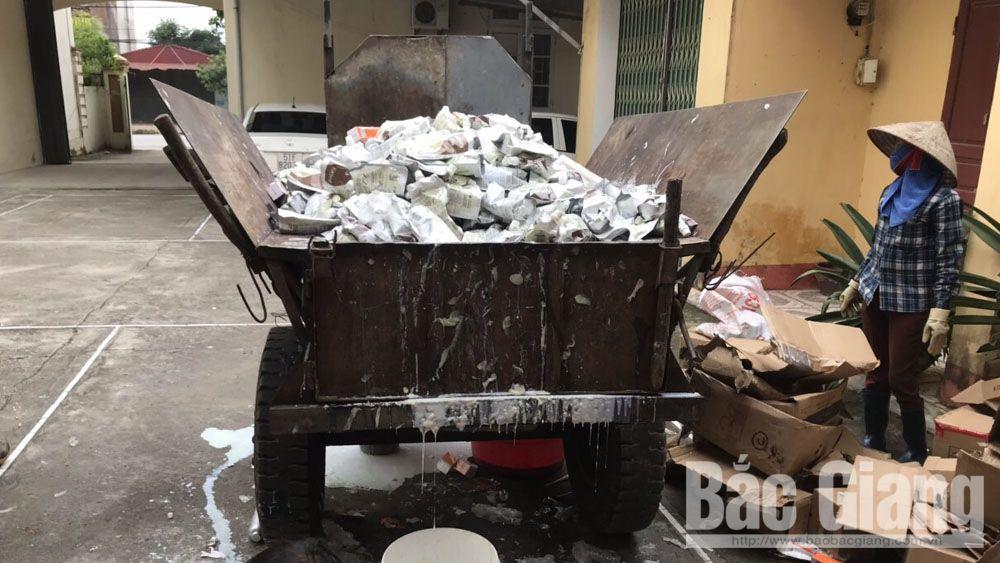 Tiêu hủy sản phẩm nhập lậu , Đội quản lý thị trường số 2 Yên Dũng, Phòng cảnh sát Kinh tế - Công an tỉnh Bắc Giang