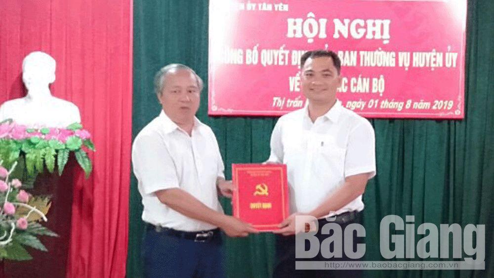 Huyện Tân Yên; Bí thư Đảng ủy thị trấn Nhã Nam; Tân Yên luân chuyển cán bộ
