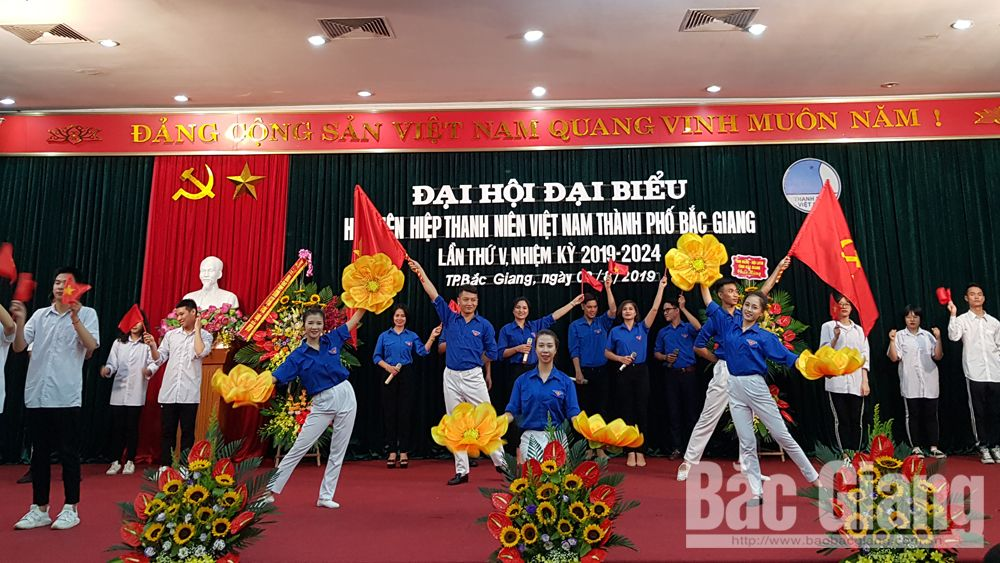 """Đại hội LHTN, TP Bắc Giang  Tiên phong - Gương mẫu- Đoàn kết - Sáng tạo"""", Bắc Giang"""