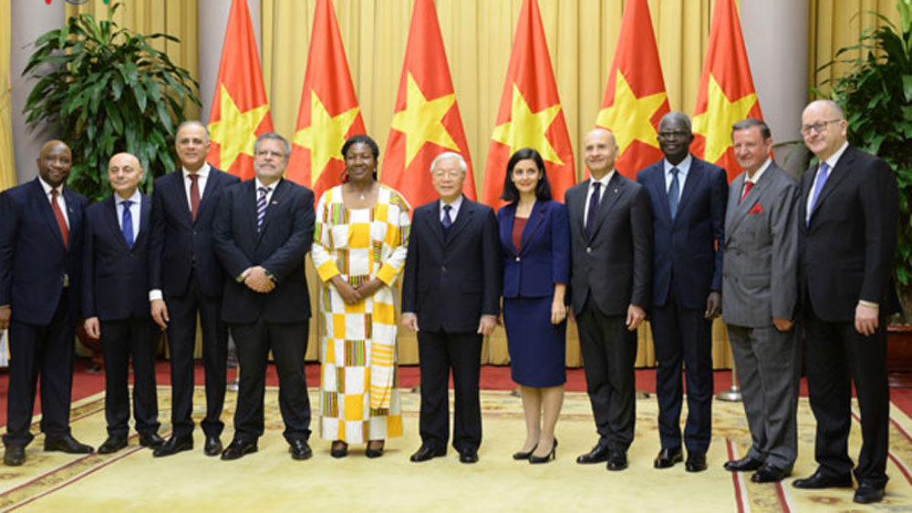 Party, State leader, Nguyen Phu Trong, new ambassadors, Vietnamese leader, friendship and cooperation, socio-political stability