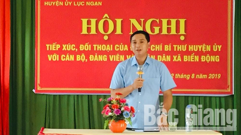 Bí thư Huyện ủy Lục Ngạn Nguyễn Việt Oanh tiếp xúc, đối thoại với Cán bộ, đảng viên và nhân dân xã Biển Động