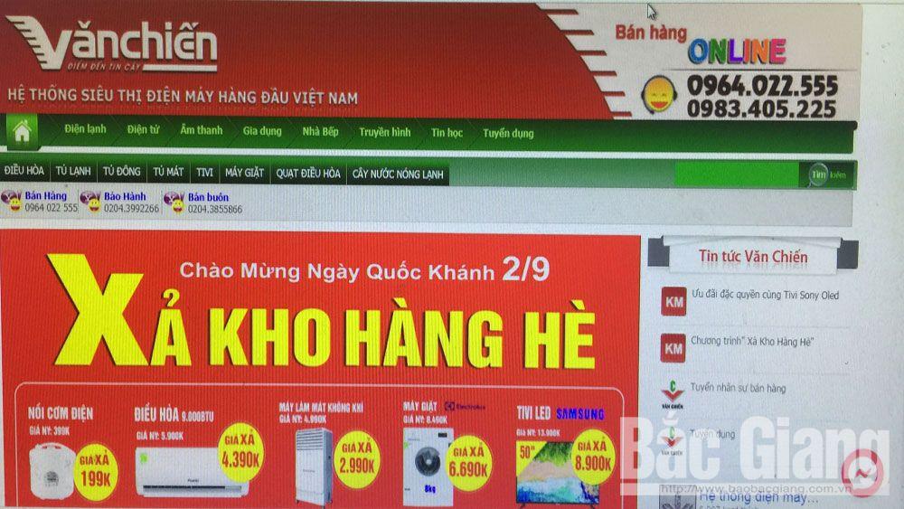 mua sắm hàng hóa online, kinh doanh thương mại điện tử, Bắc Giang,
