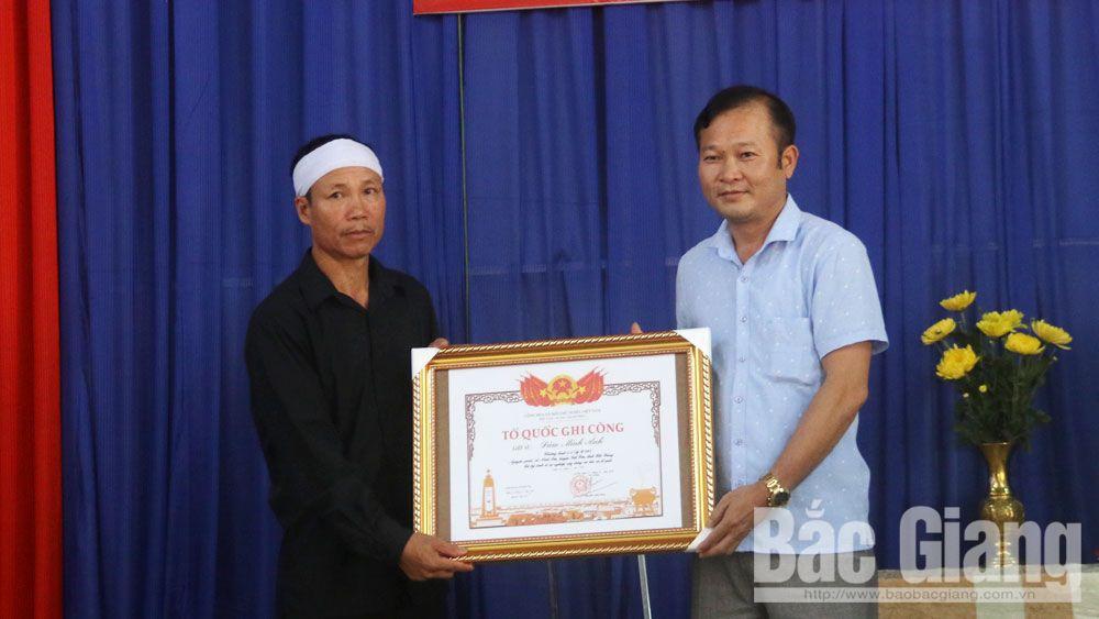 Việt yên, lễ suy tôn, liệt sĩ, trao bằng Tổ quốc ghi công