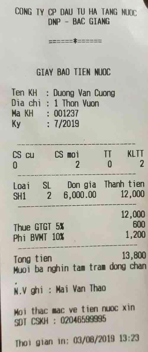 Bắc Giang, Lạng Giang, Xuân Hương, nước sạch, báo tiền nước