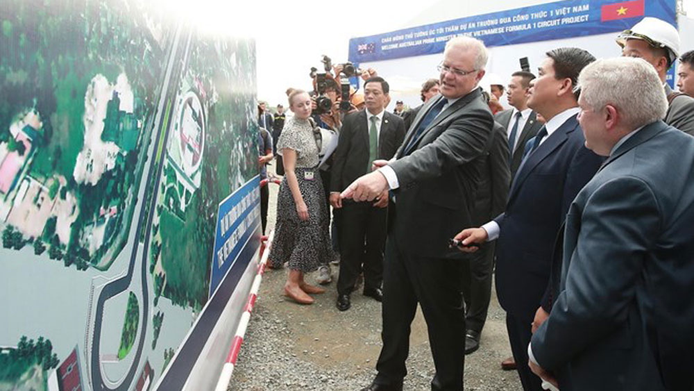 Australian PM, F1 circuit project, Hanoi, official visit, world's sports map,  foreign travellers, economic growth,  sound friendship
