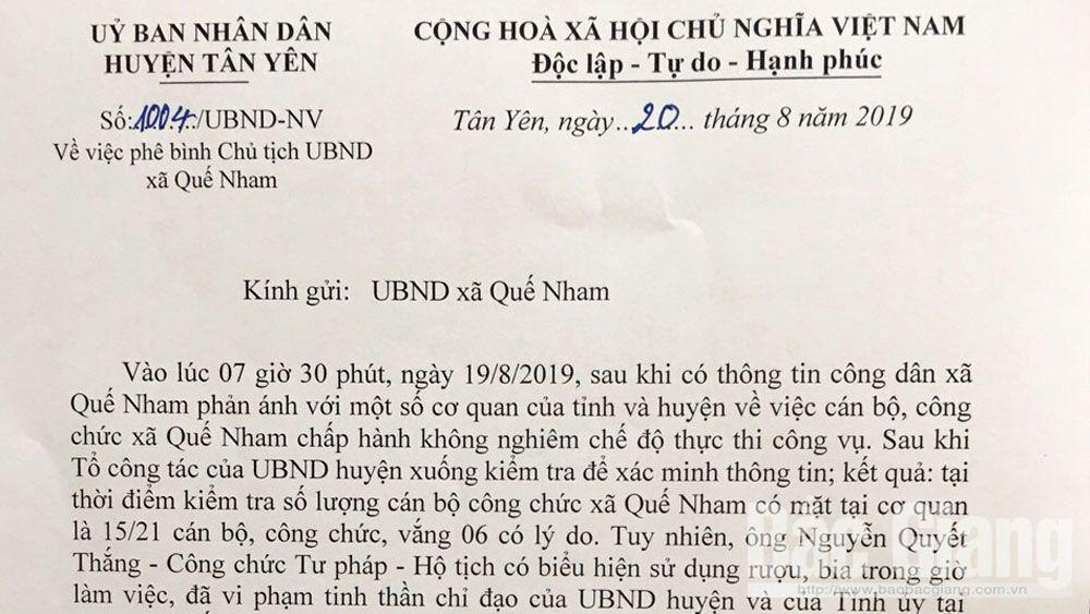 Xem xét kỷ luật công chức xã Quế Nham có biểu hiện uống rượu, bia trong giờ làm việc
