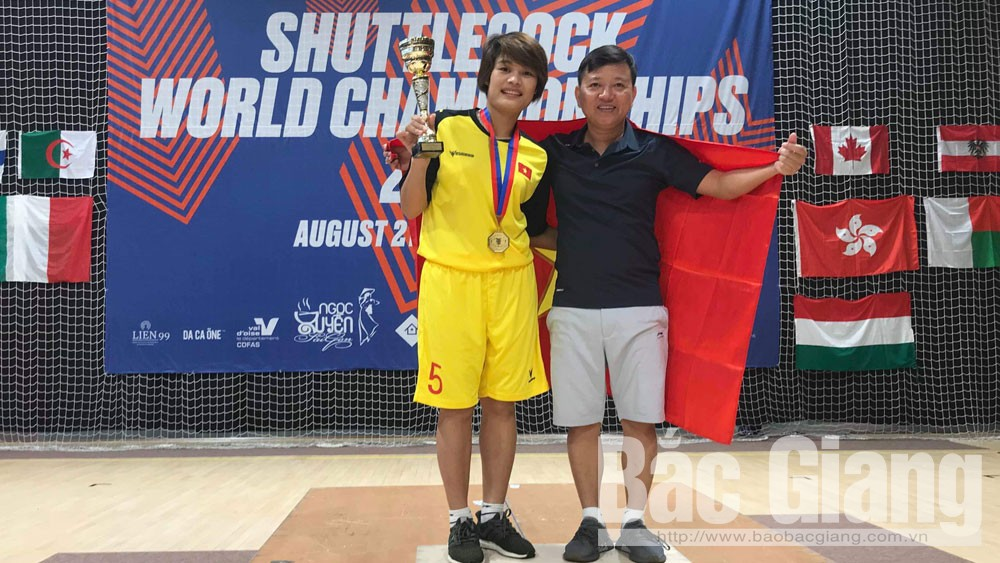Nguyen Thi Dao, gold medal, 2019 World Shuttlecock Championships, France, Bac Giang province, Bac Giang shuttlecock athlete,