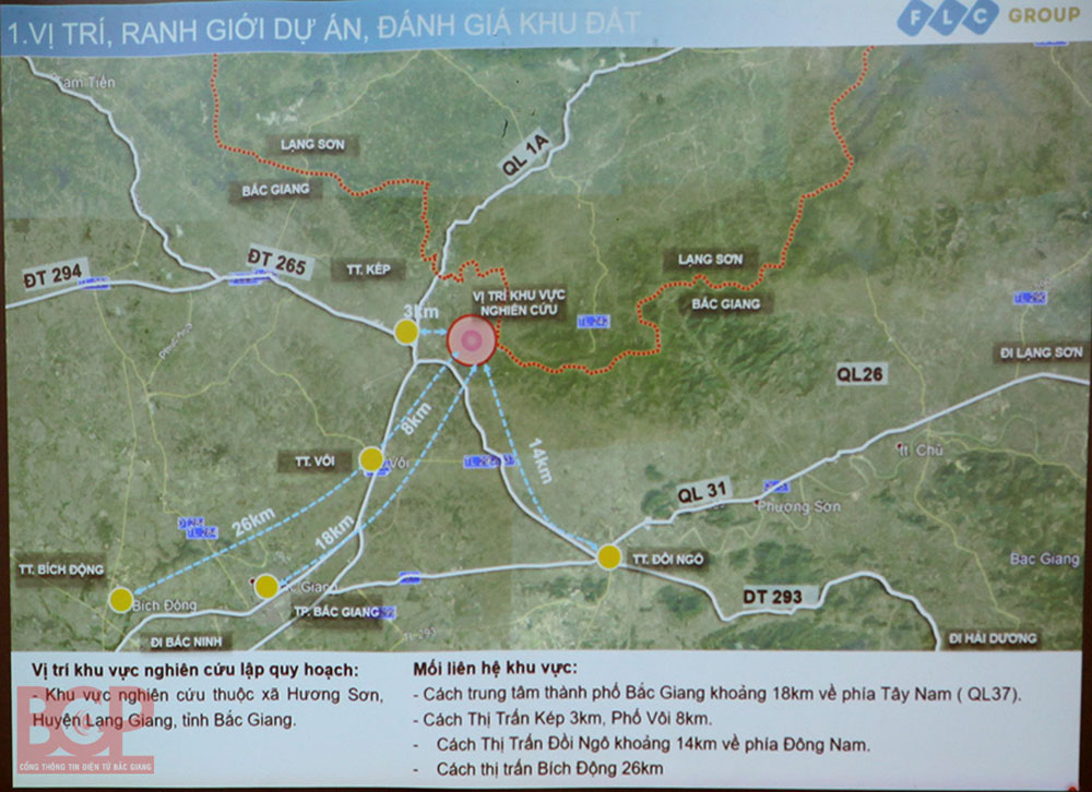 Bac Giang province, due attention, Kep township, Ho Cao, ecological tourism- urban - sport complex, internal linkage, cost saving, traffic convenience