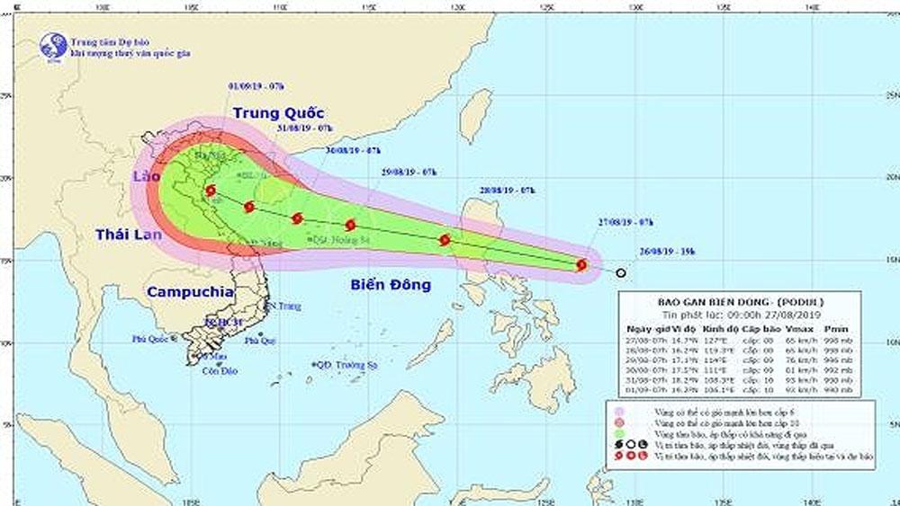 Áp thấp nhiệt đới, mạnh thành bão, gió giật cấp 10, hướng về miền Trung, Podul