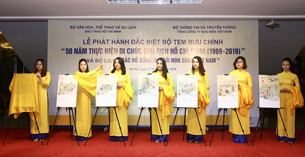 Stamps, 50 years, late President's testament, Ho Chi Minh Museum, public postal network, Vietnam Post Corporation