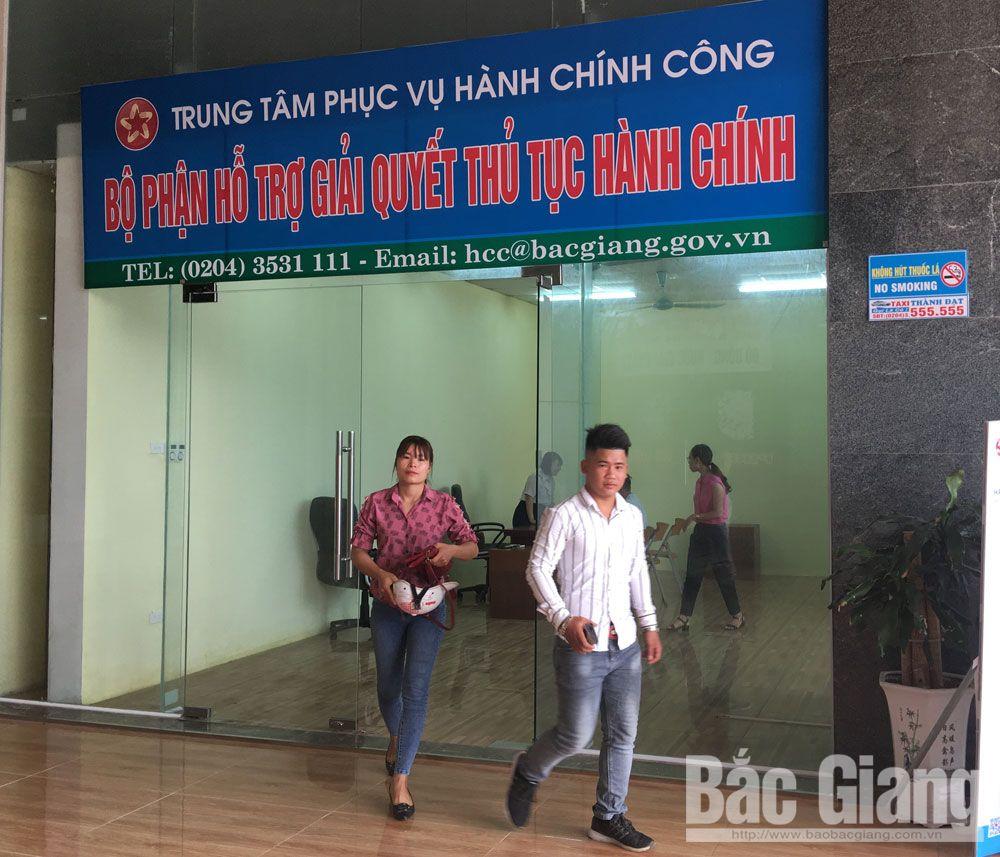 Trung tâm phục vụ hành chính công tỉnh, giải quyết thủ tục hành chính, một cửa, Bắc Giang