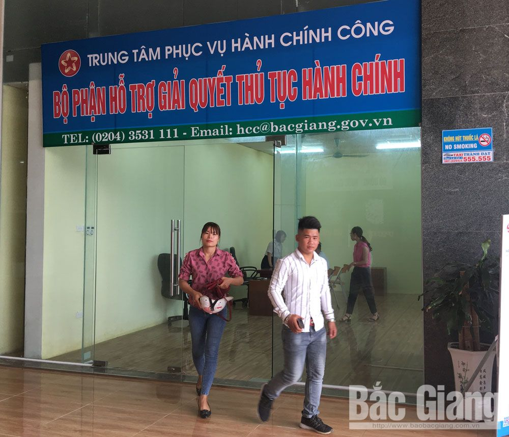 Bac Giang province, support division, handle administrative procedure,  Public Administrative Center, inter-office building, free public post service