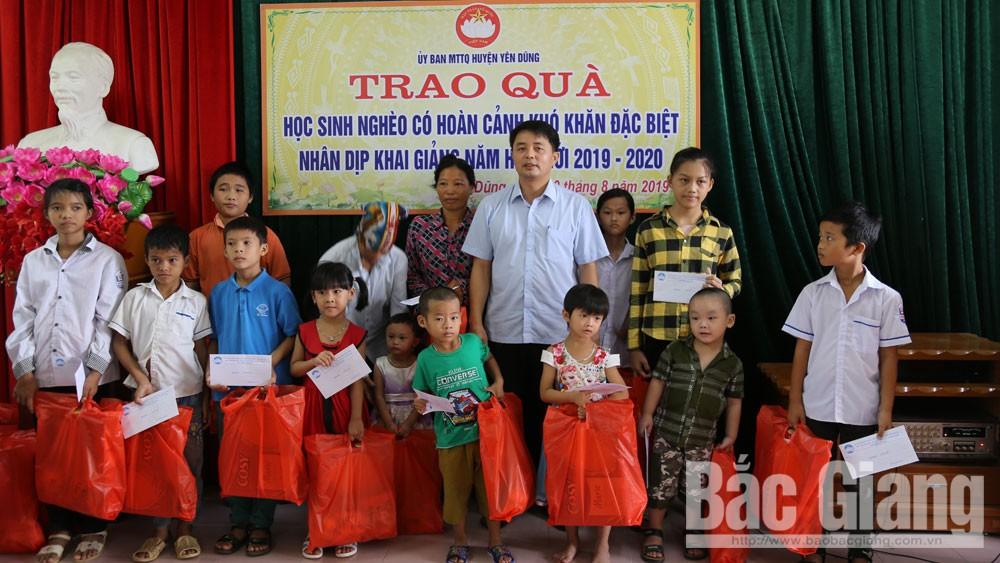 học sinh nghèo, hoàn cảnh khó khăn, Ủy ban MTTQ huyện, Yên Dũng.