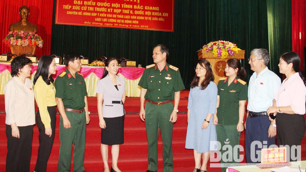 Bộ CHQS tỉnh Bắc Giang, Tiếp xúc cử tri, Dương Đình Thông, Lê Thị Thu Hồng, Luật Dân quân tự vệ sửa đổi, Luật lực lượng dự bị động viên