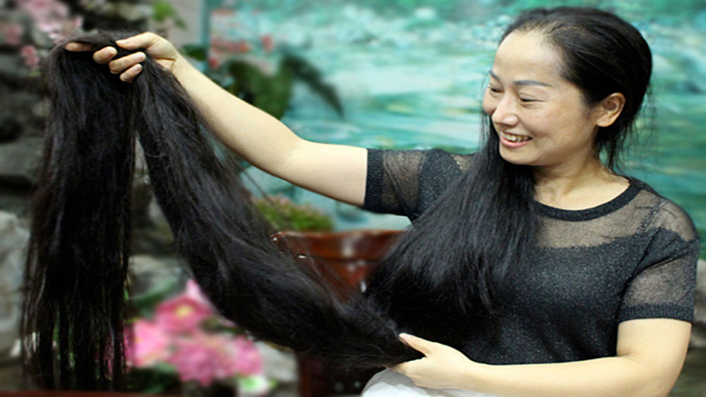 Vietnam's Rapunzel, Hoang Phuong Lan, 46-year-old woman, 2.4 meters long hair, longest straight hair
