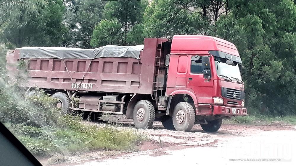 Huyện Yên Dũng, chưa xử lý, doanh nghiệp, vận chuyển đất, sai vị trí