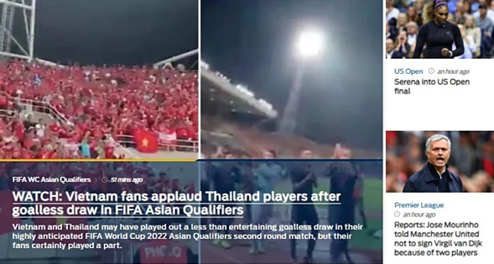 Báo châu Á, ca ngợi hành động đẹp của CĐV Việt Nam, tinh thần fair-play, Thammasat