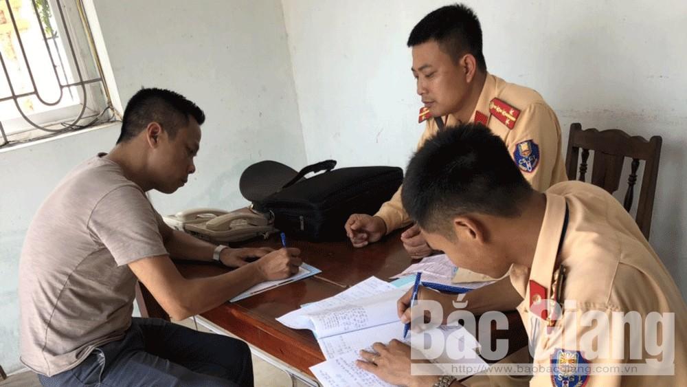 Công an huyện Tân Yên, Công an Bắc Giang, Xử lý tài xế không nhường đường cho xe ưu tiên