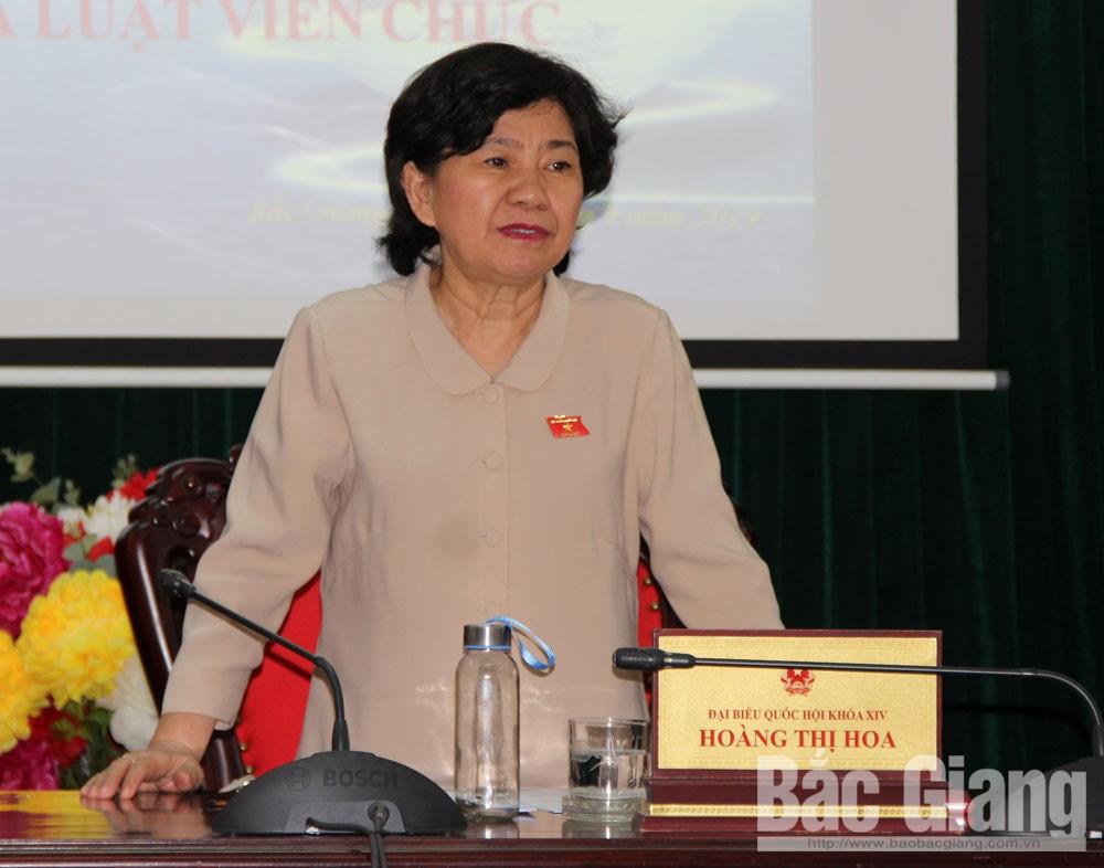 Hoàng Thị Hoa, dự thảo Luật sửa đổi, bổ sung, Luật Công chức, viên chức, Luật Thư viện