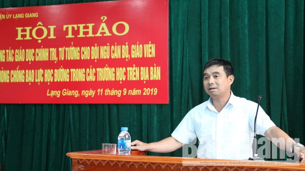 Lạng Giang, hội thảo chuyên đề, Bắc Giang, bạo lực học đường