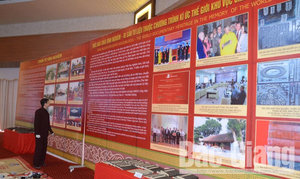 Hình ảnh, tài liệu về Mộc bản chùa Vĩnh Nghiêm trưng bày, giới thiệu tại hội thảo.