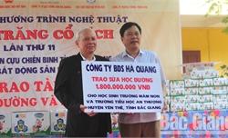 Hội Doanh nhân CCB tỉnh Bắc Giang phối hợp với DN hỗ trợ sữa học đường và trao học bổng cho học sinh xã An Thượng