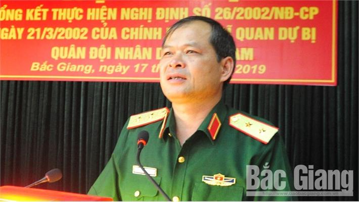 Bắc Giang dẫn đầu Quân khu 1 về xây dựng lực lượng dự bị động viên