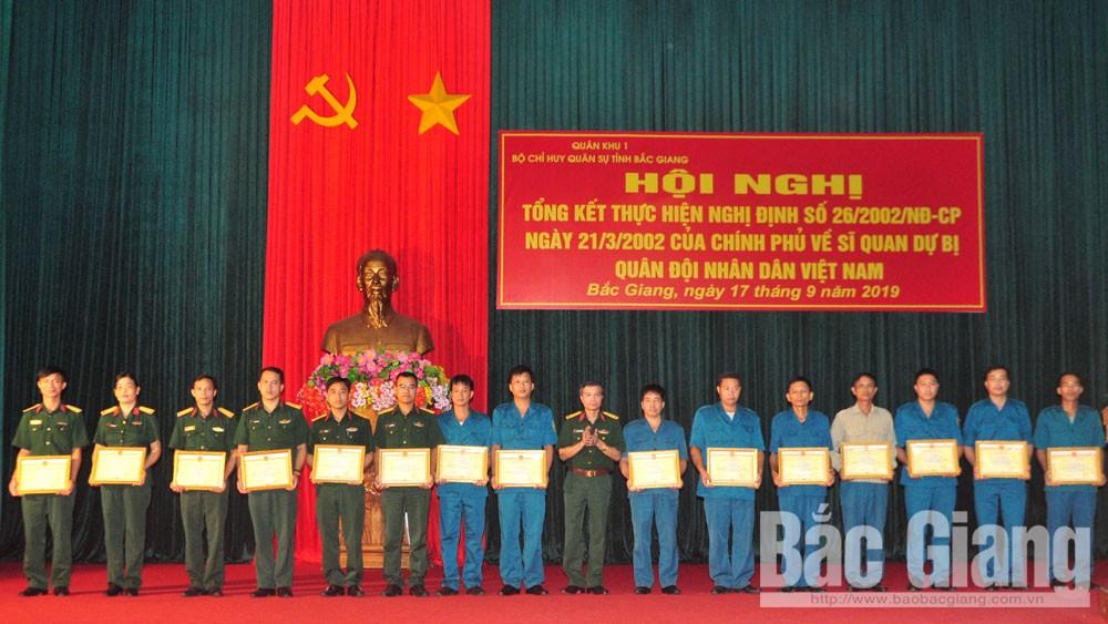 Quân khu 1, Bộ CHQS tỉnh Bắc Giang, dự bị động viên.