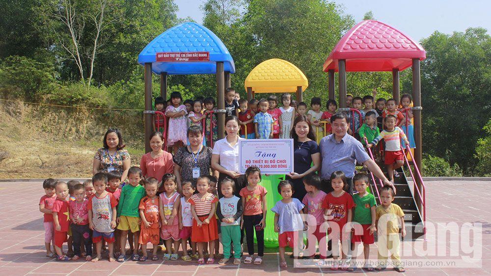 Bắc Giang, bộ đồ dùng đồ chơi, Trường Mầm non Sơn Hải, Lục Ngạn, Quỹ Bảo trợ trẻ em tỉnh