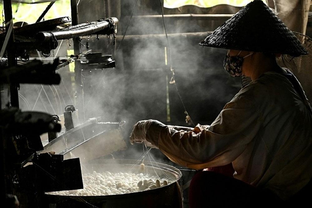Vietnam silk village, Cocoons bob, Co Chat village, silk production season, good quality thread, wooden reels