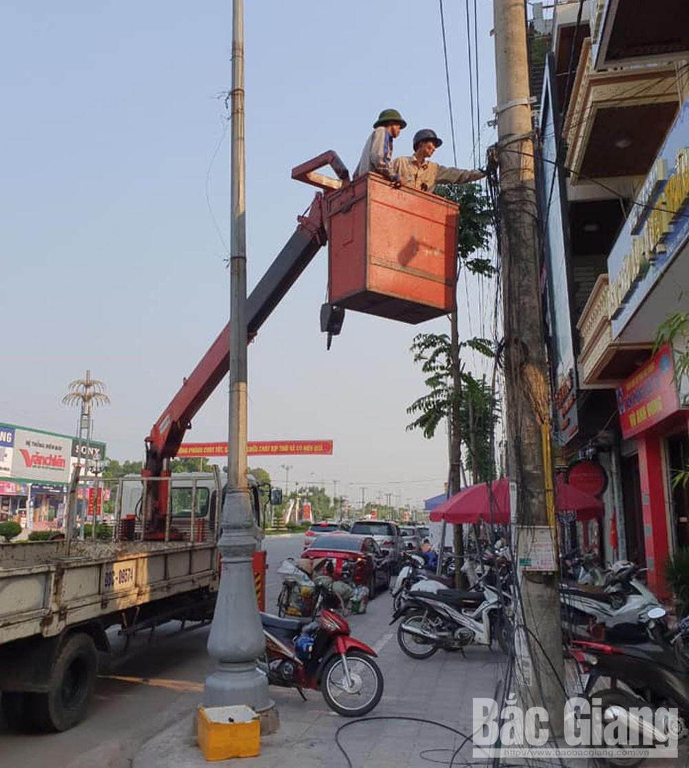 TP Bắc Giang, cắt bỏ và bó gọn dây dẫn, cáp viễn thông