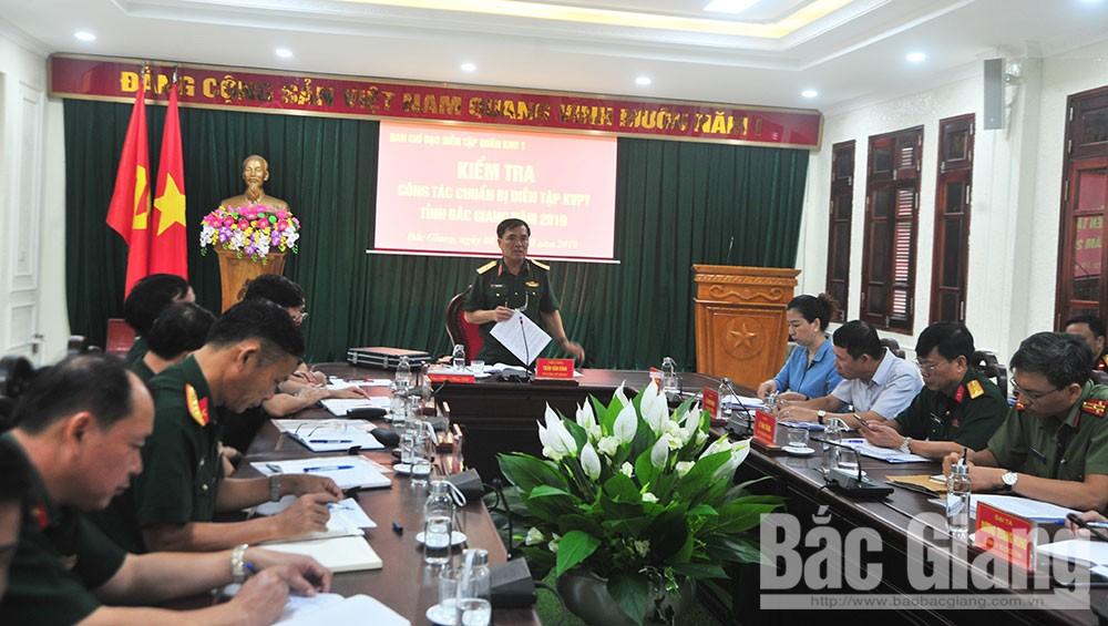 Quân khu 1, Bộ CHQS tỉnh Bắc Giang, diễn tập, khu vực phòng thủ