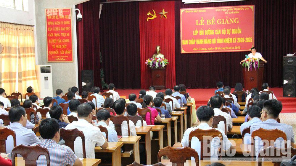 Bắc Giang; lớp dự nguồn cấp ủy tỉnh; bế giảng; học viên