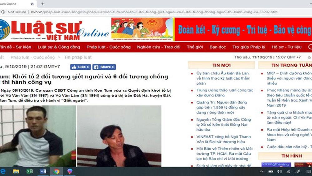 Tước giấy phép, phạt 50 triệu đồng, tạp chí điện tử Luật sư Việt Nam, đưa tin sai sự thật, Thiếu tướng Đỗ Hữu Ca