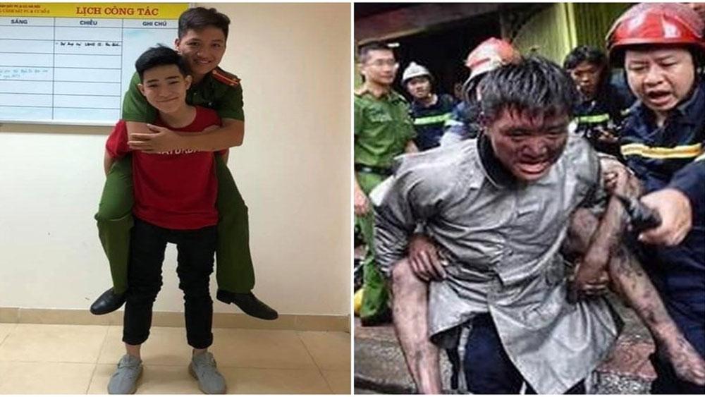 Chàng trai, cõng lại chiến sĩ chữa cháy,  cứu mình thoát khỏi giặc lửa, Nguyễn Hoàng Giang, chiến sĩ Ngọc Hoàng
