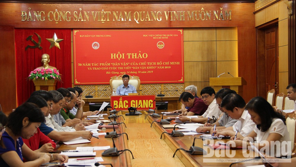 Bắc Giang; hội thảo dân dận; tác phẩm Dân vận; Hồ Chí Minh; dân vận khéo.