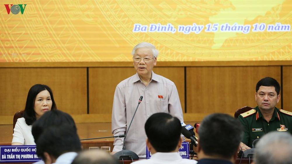 Tổng Bí thư Chủ tịch nước Nguyễn Phú Trọng, cử tri, tham nhũng, Biển Đông, bảo vệ độc lập, chủ quyền, toàn vẹn lãnh thổ
