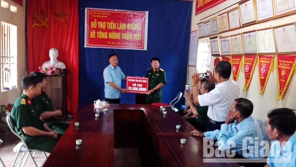 Bộ CHQS tỉnh Bắc Giang, thôn Tân Dân, Tân Hợp, xã Bắc Lý, làm đường, nông thôn mới